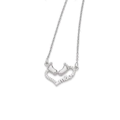130381 colar feminino pingente coracao tendo pes bebe palavra mae joia folheada ouro rommanel super mae brilho folheados