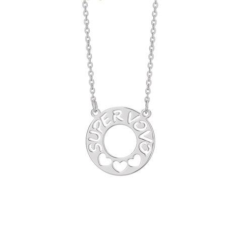 130387 colar corrente cadeado com pingente fixo escrito super vovó e 3 coracoes vazados joia rommanel brilho folheados colecao super mae