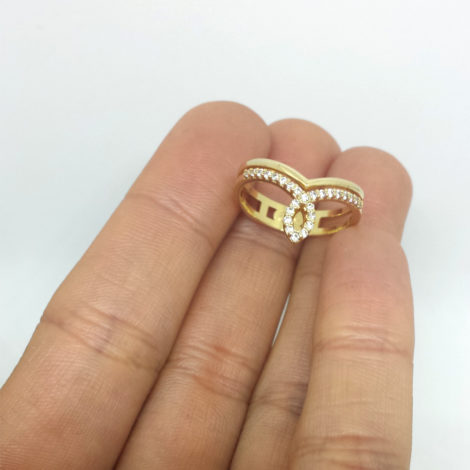 1910620 anel super delicado zirconias branca joia folheada ouro 18k brilho folheados