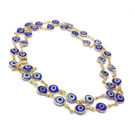 240E60 colar comprido olho grego azul joia folheada ouro 18k sabrina joias brilho folheados