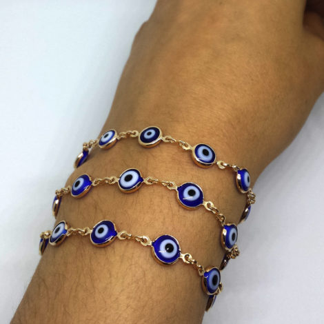 240E60 colar que vira pulseira de 3 voltas olho grego azul brilho folheados sabrina joias