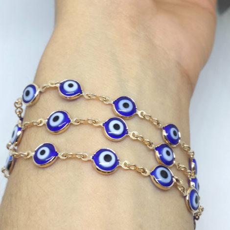 240E60 colar que vira pulseira de 3 voltas olho grego azul joia folheada our 18k brilho folheados sabrina joias