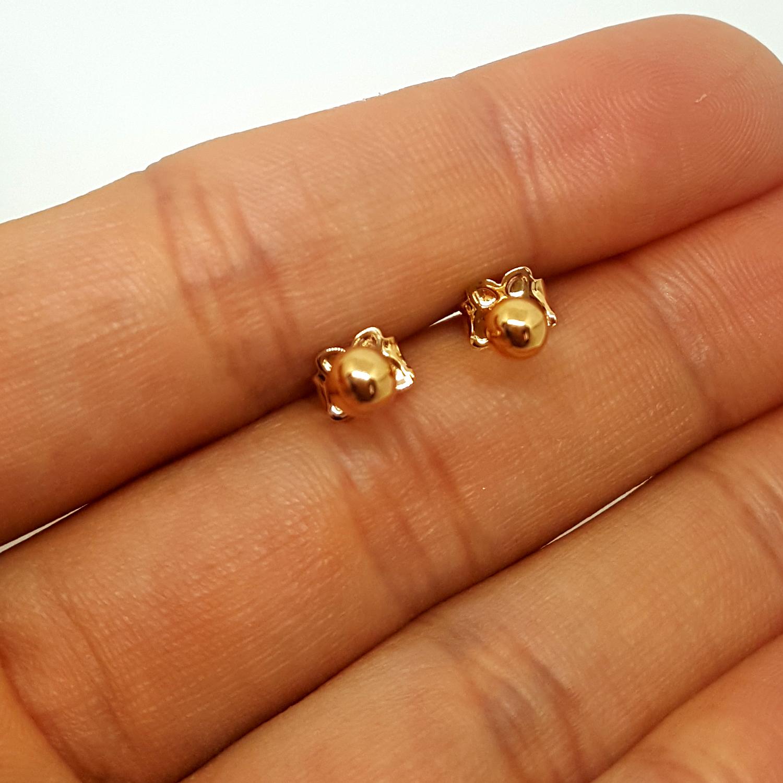 Brilho Folheados Brinco Bola Lisa Pequeno 4 mm Folheado ouro 75358ce265