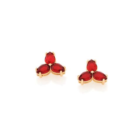 525807 brinco pequeno delicado 3 pedras cristal vermelho em cada lado joia folheada colecao dias das maes rommanel brilho folheados