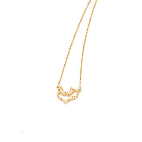 531771 colar feminino pingente coracao tendo pes bebe palavra mae joia folheada ouro dourado rommanel super mae brilho folheados