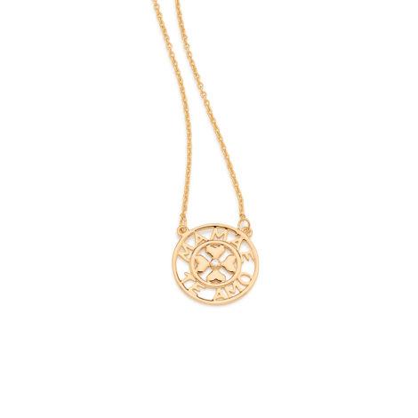 531772 colar pingente redondo escrito mamae te amo com 4 coracoes no centro e uma pedra zirconia joia folheada ouro colecao super mae rommanel brilho folheados