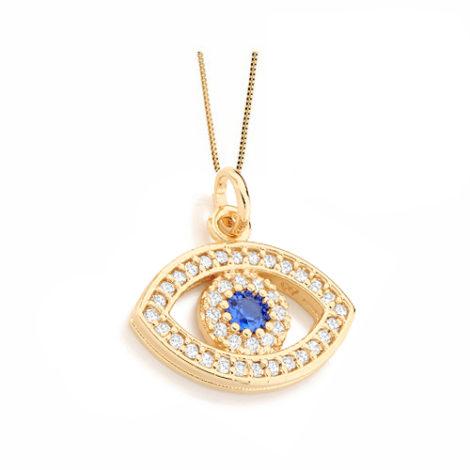 541730 531310 colar corrente veneziana 42 cm com pingente olho grego cravejado zirconias coloridas joia folheada ouro 18k rommanel brilho folheados