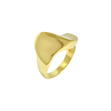 AB1727 anel ondulado liso super brilhoso joia folheada em ouro 18k dourado marca bruna semijoias brilho folheados