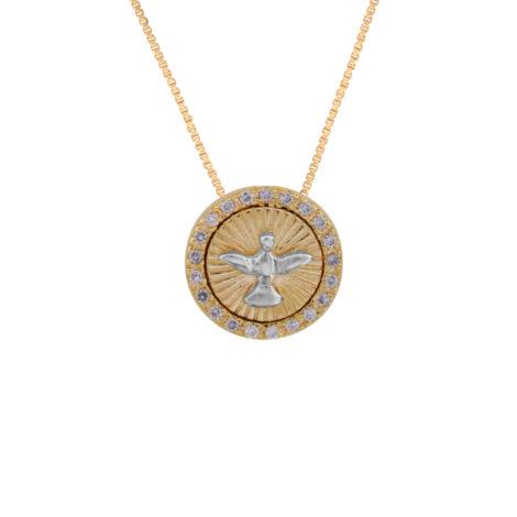 MB1055 CE013945 colar medalha redonda pequena com espirito santo de deus joia folheada ouro dourado 18k brilho folheados bruna semijoias