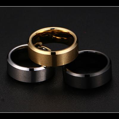trio anel masculino largo ouro negro ouro branco ouro amarelo brilho folheados