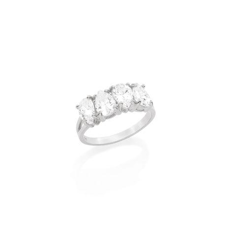 110716 anel vazado na lateral com 4 pedras zirconia formato gota joia folheada ouro rommanel dia das maes brilho folheados