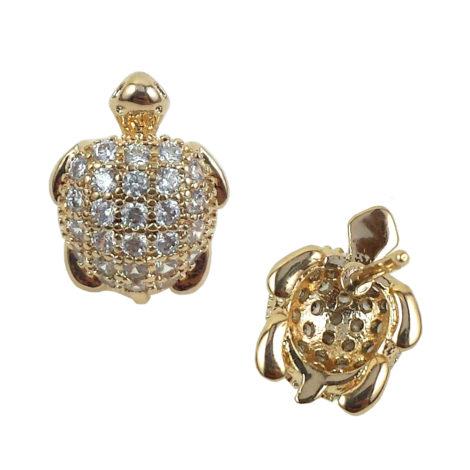 1689784 brinco tartaruga infantil cravejada zirconia branca joia banhada folheada ouro 18k brilho folheados sabrina joias