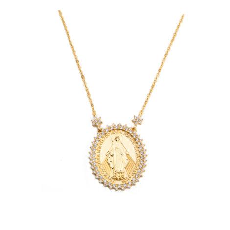 1900263 colar nossa senhora das graças com zirconias brancas mensagem na medalha joia folheada ouro amarelo 18k sabrina joias brilho folheados