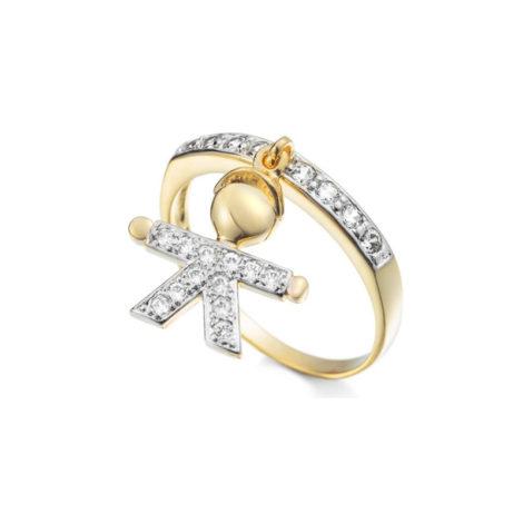 1910064 anel aro fino com pingente de menino fino pendurado anel cravejado com zirconias folheado a ouro 18k sabrina joias brilho folheados