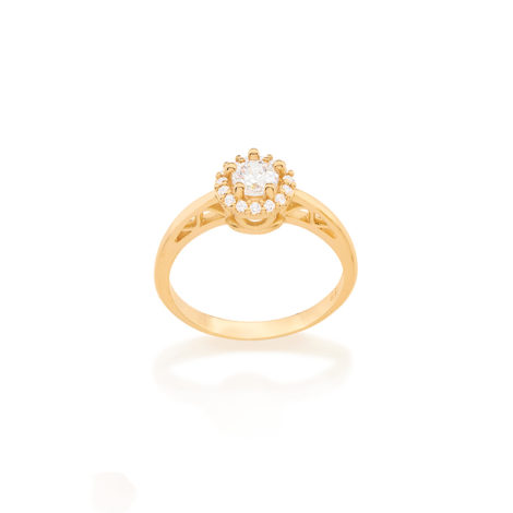 512421 anel solitario delicado com aro contendo detalhes coracao vazado joia rommanel dia das maes brilho folheados