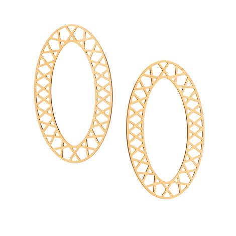 525797 brinco grande oval vazado detalhes de x joia folheada ouro rommanel brilho folheados