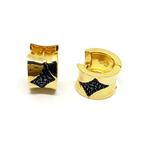 brinco argola bipartida com zirconia preta joia folheada ouro amarelo antialergica sabrina joias brilho folheados 1689295