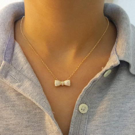 colar feminino pingente laco cravejado delicado brilho folheados
