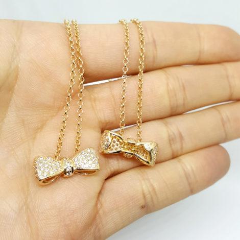 colar laco delicado com zirconias joia folheada banhada ouro dourado 18k