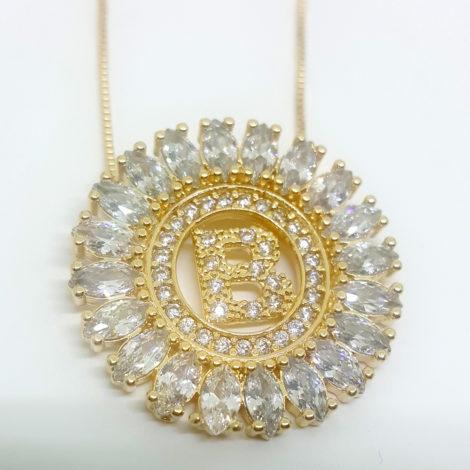 colar letra b com cristais joia folheada ouro 18k dourado brilho folheados