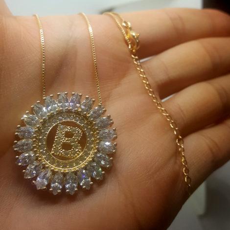 colar letra b inicial nome brilho folheados com cristais folheado ouro dourado 18k