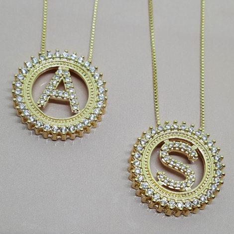 colar letras brilho folheados folheado ouro dourado 18k