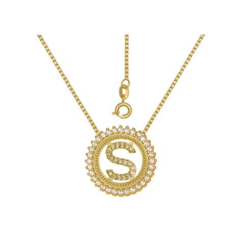 colar medalha letra s tamanho medio joia folheada ouro amarelo 18k
