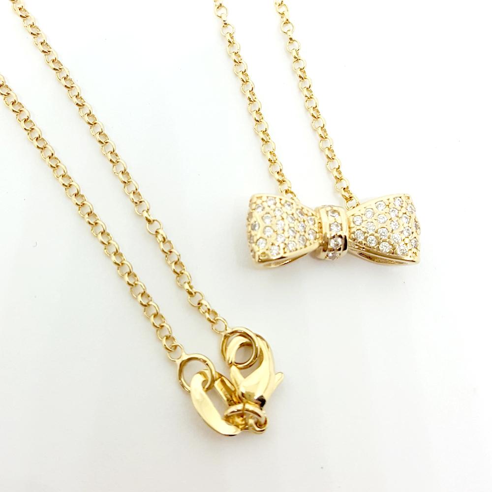 Brilho Folheados Colar Laço em zircônias folheado a ouro 18k 9560a9e67d