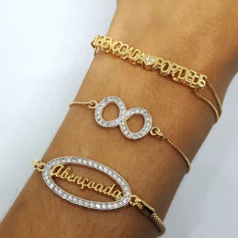 mix pulseiras abencoada por deus simbolo do infinito joia folheada banhada ouro dourado 18k brilho folheados