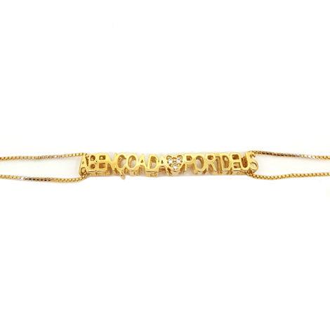 pulseira abencoada por deus com coracao em zirconias joia folheada banhada ouro dourado 18k brilho folheados