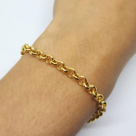 pulseira portuguesa uniseex 21 cm comprimento joia folheada banhada ouro amarelo brilho folheados sabrina joas 3