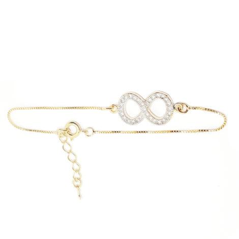 pulseira simbolo infinito cravejado zirconias branca com aplique ouro branco joia folheada banhada ouro 18k brilho folheados