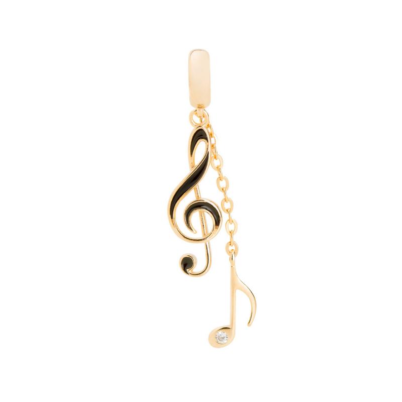 74369b587328d Brilho Folheados Pingente Duplo Notas Musicais joia folheada a ouro 18k