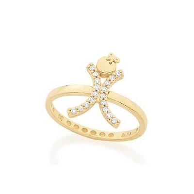 512387 anel skinny aro fino com meniNa acoplada cravejada 16 pedras de zirconia branca com laco na cabeca joia folheada ouro rommanel brilho folheados