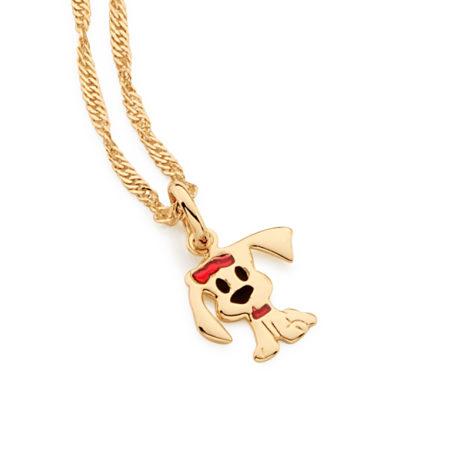 541800 531153 colar infantil corrente pingente cachorro colorido resina colorida vermelha e preta joia rommanel brilho folheados