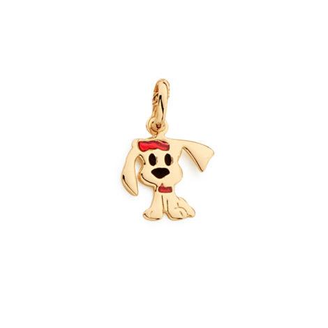 541800 pingente infantil formato de cachorro com detalhe resina vermelha e preta joia rommanel antialergica brilho folheados