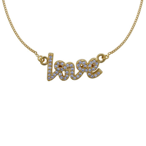 GB0216 colar feminino palavra love cravejada zirconias branca joia folheada banahda ouro amarelo 18k bruna semijoias brilho folheados