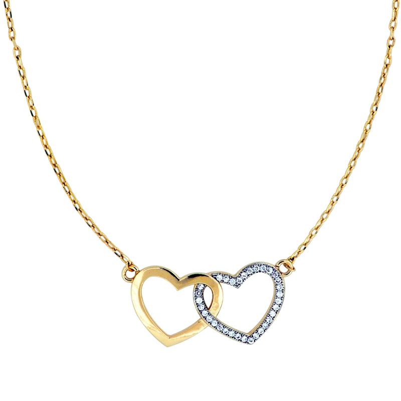 Brilho Folheados Colar dois corações joia folheada a ouro 4fa5288e01
