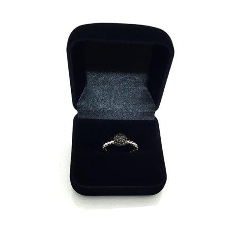 R1910385 anel bolinhas com caixinha preta case anel pave cravejado zirconias pandora inspired sabrina joias brilho folheados