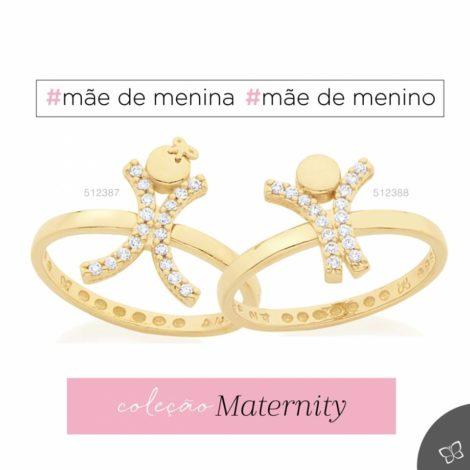 colecao mamae rommanel brilho folheados maternity anel menina anel menino