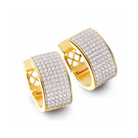 1689145 brinco maxi oval com frente cravejada zirconias branca brilhante joia folheada ouro dourado 18k sabrina joias brilho folheados