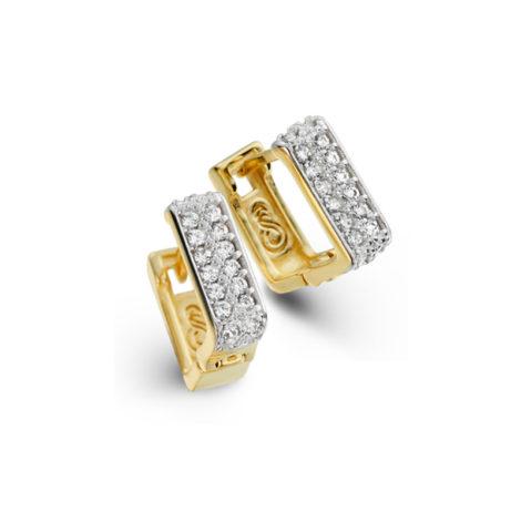 1689190 brinco argola quadrada pequena com parte cravejada com zirconias branca joia folheada ouro dourado 18k marca sabrina joias brilho folheados revendedora oficial 1