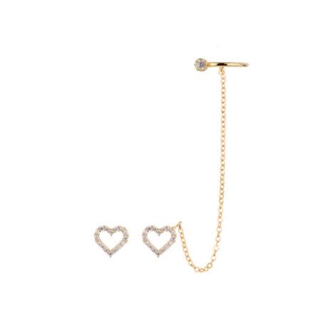 1689552 par de brinco coracao com uma parte contendo corrente e piercing no formato de argola regulavel de pressao com bolinha e ponto luz sabrina joias brilho folheados
