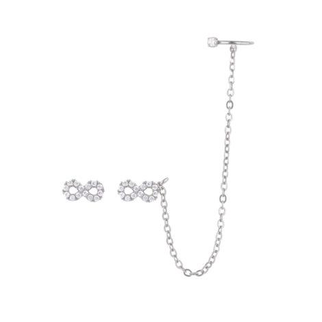1689553 brinco infinito com argola piercing de um lado apenas formato encaixe com zirconias joia folheada rhodium brilho folheados revendedora oficial da marca sabrina joia