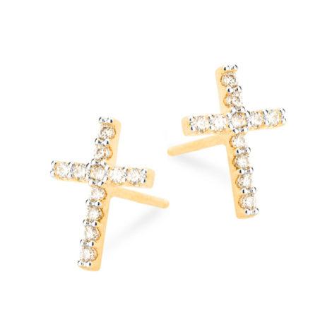 1689738 brinco cruz mini super delicado brinco folheado ouro dourado 18k brilho folheados revendedora oficial da marca sabrina joias