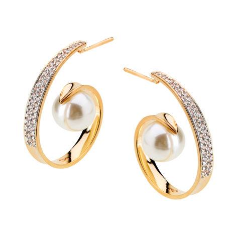 1689829 brinco argola caracol com perola e zirconias joia folheada ouro dourado 18k brilho folheados revendedora oficial da marca sabrina joias