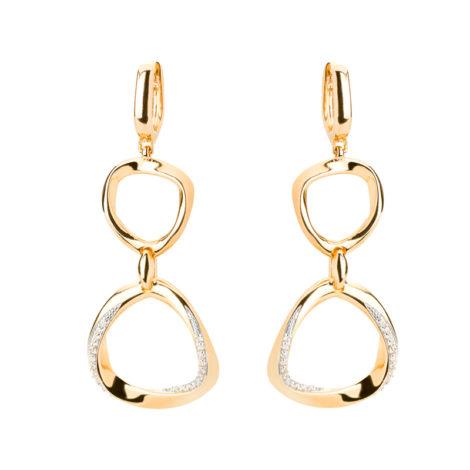 1689881 brinco argola duplo elo estilizado cravejado com zirconias joia folheada ouro dourado 18k fecho clic sabrina joias brilho folheados