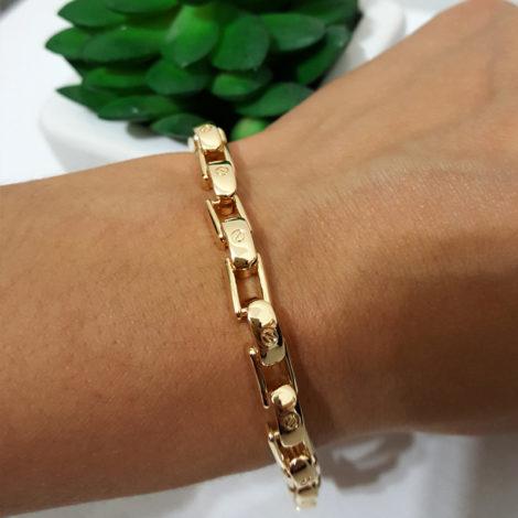 1700056 pulseira masculina elos estilo cartier brilho folheados