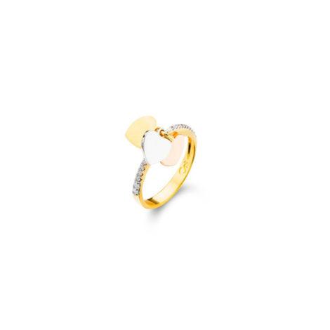 1910470 anel delicado com 3 coraceos em 3 tons diferentes de ouro ouro rose ouro dourado ouro branco anel prateado joia folheada sabrina joias brilho folheados