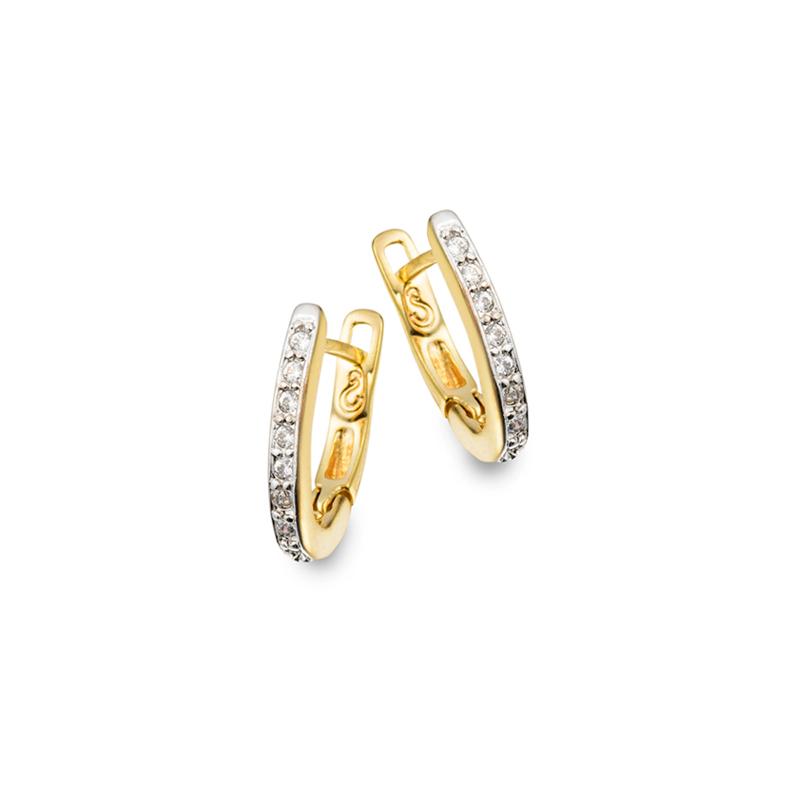 c2d65de727e4d Brinco argola pequena oval com zircônias para 1º furo Joia folheada ouro